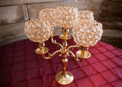 "5 Goblet Gold Crystal Candleabra 15"" x 12"""