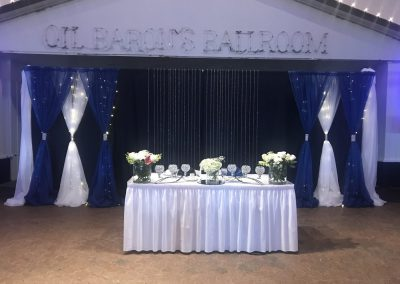 Pipe & Drapes | Black, White & Blue with Lights