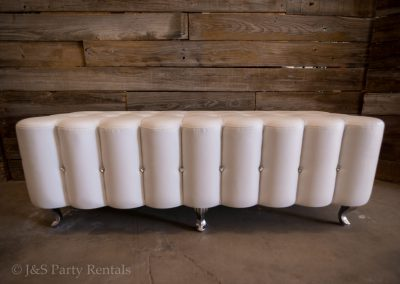 "White Leather Bench w: Diamonds 19""H x 56"" L x 21"" W"