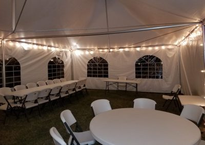 Inside High Peak Tent 20X30 | 6 Round Tables Seats 50 | Seats 90 Without Tables