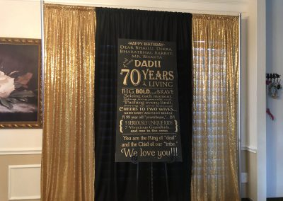 Pipe & Drapes | Gold & Black With Sign