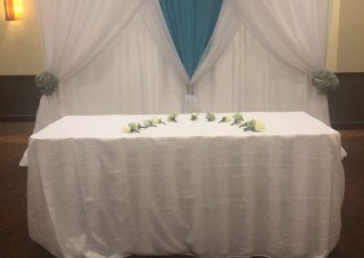 Pipe & Drapes   White & Blue With Table